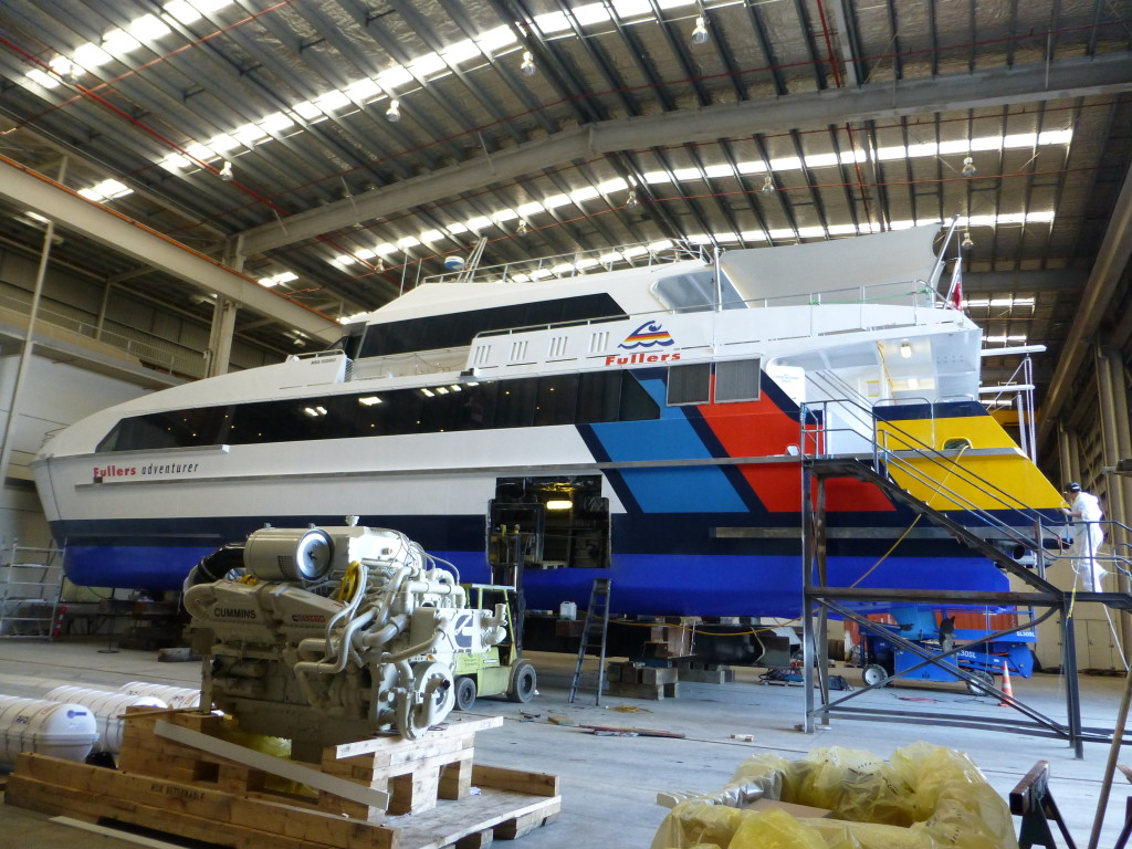 30M High Speed Passenger Ferry for Refit and Re-power in Shed A at Oceania Marine North Shipyard